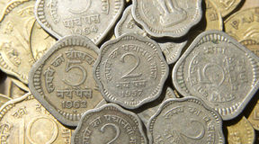 Old  Indian Coins. Old Indian Coins of 2 Paise , 5 Paise Denomination made of Nickel Royalty Free Stock Photography