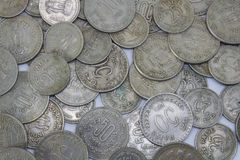 Old Indian coins Top view. Old indian coins of 50 paiseand 25 paise Stock Photo