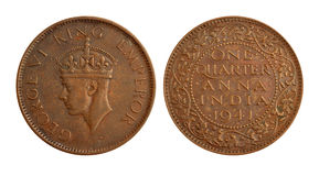Old Indian Currency Coin - One Quarter Anna Royalty Free Stock Photos