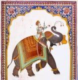 Old indian fresco of elephant & man, Mandawa Stock Images