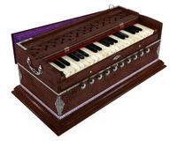 Old Indian harmonium isolated Stock Photos
