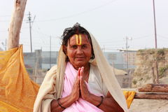 Old Indian holy woman Stock Images