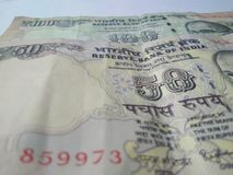 Indian currency bank notes. Old Indian  hundred and fifty  rupees currency bank notes  on white background Stock Photo