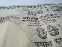 Indian currency bank notes. Old Indian  hundred and fifty  rupees currency bank notes  on white background Stock Images