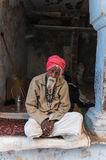 An old Indian man with a red turban Royalty Free Stock Photo