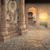 Old indian oasis. Old indian oasis near Ganges river in the sunset Royalty Free Stock Photography