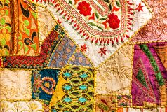 Old Indian patchwork carpet. Rajasthan, India Royalty Free Stock Photo