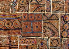 Old Indian patchwork carpet in Rajasthan, India Royalty Free Stock Photo