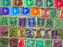Old Indian Postage Stamps Royalty Free Stock Photos