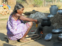 Old indian tribal woman in the tribal village Stock Images