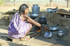 Old indian tribal woman in the tribal village Stock Image