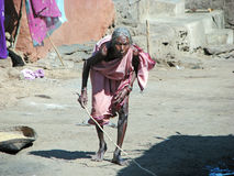 Old indian tribal woman in the village Royalty Free Stock Image