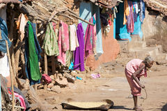Old indian tribal woman in the village Stock Photos