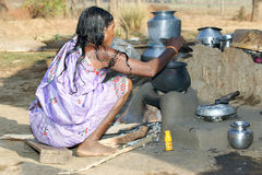 Old indian tribal woman in the village Stock Photo