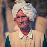 An old Indian in a turban. Portraite of indian men Stock Photos