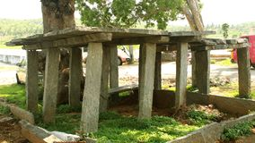 Old indian village load bearing stone. This system is widely seen in the Indian villages of ancient times stock images