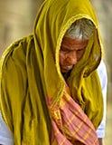 Old Indian Woman Praying Stock Photo