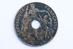 Old indo-china coin Stock Image