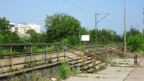 Old industrial abandoned broken and derelict railway station in city of Banja Luka Stock Image