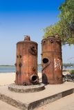 Old industrial architecture - rusty metal silo Royalty Free Stock Photo