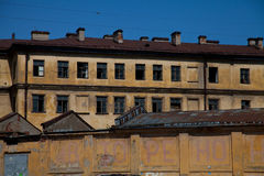 Old industrial building. Old abandoned industrial building - Facade stock images