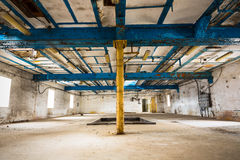 Old industrial building interior, support structure Stock Photo