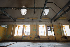An old industrial building interior, windows Royalty Free Stock Photography