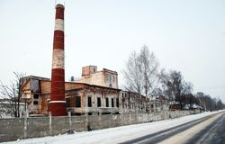 The old industrial building in the village of Karmanovo. Smolensk region. Russia royalty free stock photo