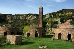 Old Industrial Buildings. Porth Wen Brickworks on the Isle of Anglesey in Wales UK is a disused Victorian brickworks which produced fire bricks, made from stock image