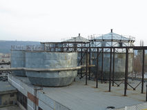 Old industrial chemical storage tanks Stock Photography