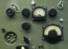 Old industrial electronics gauge instruments.  Stock Photography
