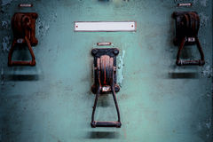 Old industrial electronics switch cupboard in a firm Royalty Free Stock Photo
