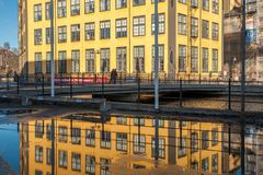 The old industrial landscape in Norrkoping Stock Photos
