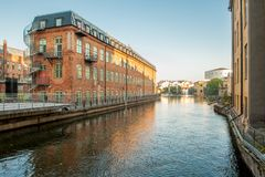The old industrial landscape in Norrkoping Stock Photography