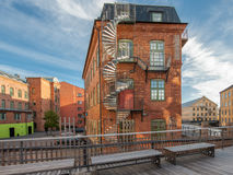 The old industrial landscape in Norrkoping, Sweden Royalty Free Stock Photography