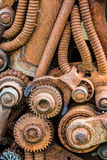 Old industrial machine details and gears with rust Stock Photo