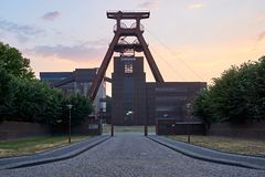 Old industrial mining complex during sunset in the Ruhrgebiet - Germany stock photography