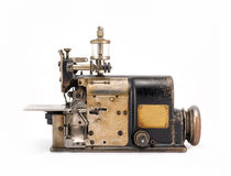 Old Industrial Overlock Sewing Machine Front View Stock Photo