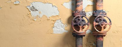 Old industrial pipelines and valves on weathered wall background, banner, copy space. 3d illustration. Old industrial pipelines and valves with red wheels on Stock Photo