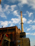 Old industrial plant and chimney stock photo