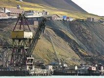 Old industrial port in svalbard Stock Image