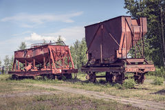Old industrial railway cars for metallurgy plant Stock Images
