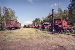 Old industrial railway cars for metallurgy plant Royalty Free Stock Photo