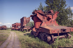 Old industrial railway cars for metallurgy plant Stock Photo