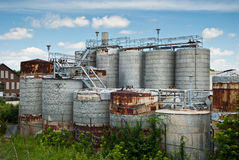 Old Industrial Tanks. Outdoor view of old tanks outside a factory in Dayton, Ohio Stock Image
