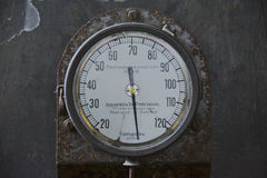 Old industrial thermometer. Appareils de Precision industrial thermometer at an abandoned power plant Royalty Free Stock Photos