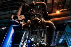Industrial zone, Steel pipelines and equipment royalty free stock photos