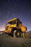 Old industual dumper truck with star trails Stock Image