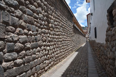 Old Inka wall in city of Cuzco in Peru, South America. Royalty Free Stock Image