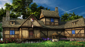 Old inn with colorful flowers Stock Image